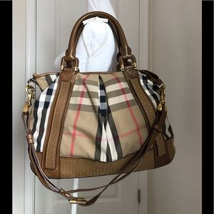 Like new Burberry house check studded large tote
